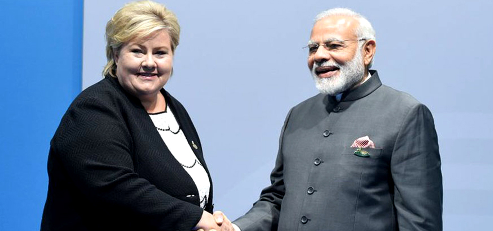 Meeting between Prime Minister Modi and Prime Minister of Norway in G20 Summit 2017 in Hamburg July 08 2017