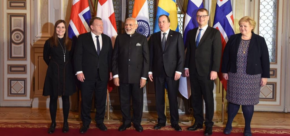 Bonding together with a region representing quality and innovation and potential to be our partners in development. PM Narendra Modi with Nordic leaders from Sweden, Denmark, Iceland, Norway and Finland at the First India-Nordic Summit.
