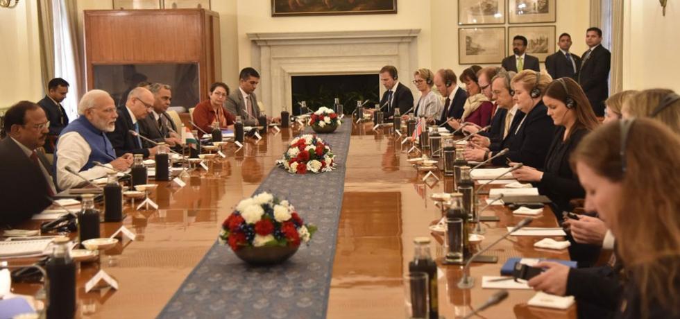 Delegation-Level Talks in New Delhi during the visit of H.E. Ms. Erna Solberg, Prime Minister of Norway.