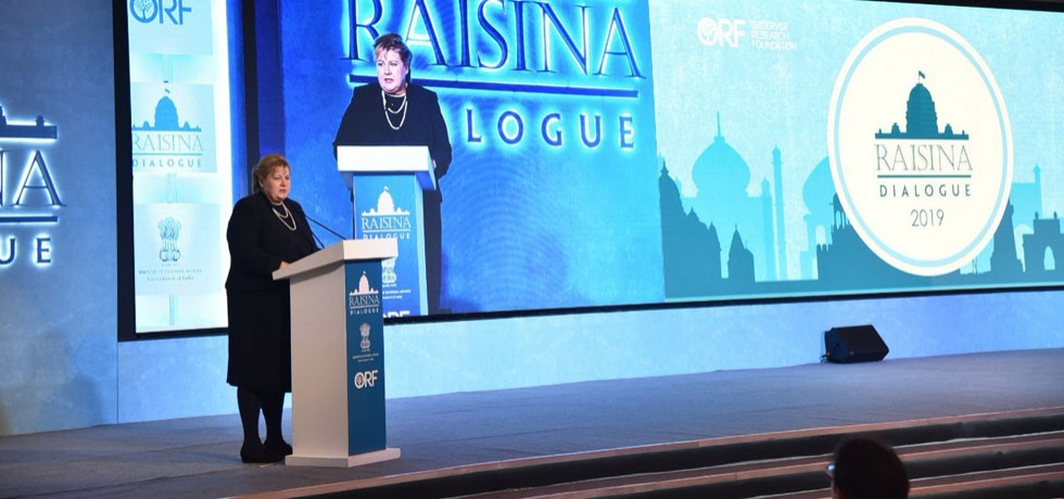 H.E. Ms. Erna Solberg, Prime Minister of Norway, delivering the Inaugural Address at the Raisina Dialogue 2019 in New Delhi on January 8, 2019.