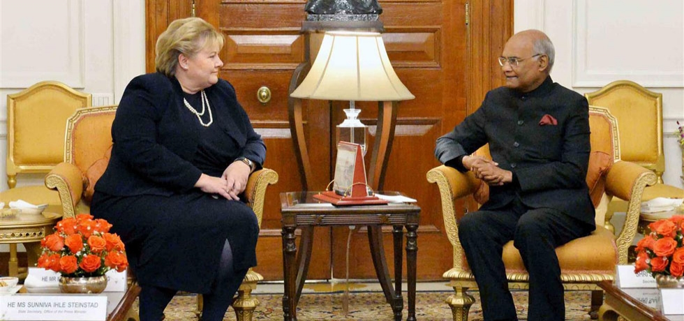 The President of India receives H.E. Ms. Erna Solberg, Prime Minister of Norway, on January 8, 2019.