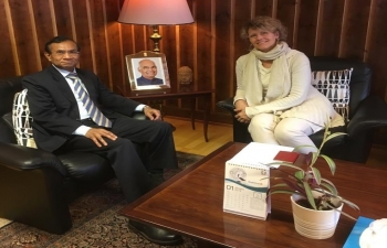 H.E. Mr. Krishan Kumar, Ambassador of India to Norway, meeting with Ms. Ann Kristin Ulrichsen, the representative from Norway who has been selected by the Government of India to participate in the Kumbh Mela to be held in Prayagraj, U.P., India, from Feb 21-23, 2019
