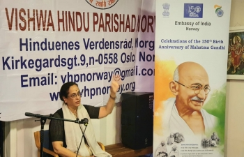 Visit of Dr. Shobhana Radhakrishna to Norway from 18 to 21 September 2019 Lecture on Mahatma Gandhi in VHP office, Oslo.