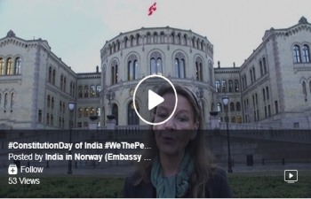 Message of greetings to the people of India in Norway and around the world on #ConstitutionDay of India by Ms. Ingjer Schou, Member of Parliament (Conservative Party of Norway) and Member of the Standing Committee on Foreign Affairs and Defence #WeThePeople