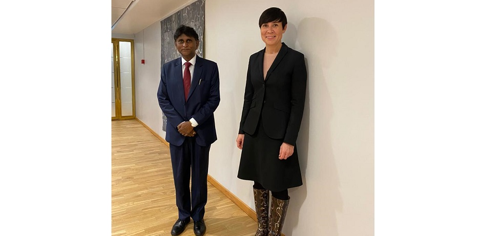 Meeting of H.E. Dr. B. Bala Bhaskar with H.E. Ms. Ine Eriksen Søreide, Minister of Foreign Affairs on 01 October 2020