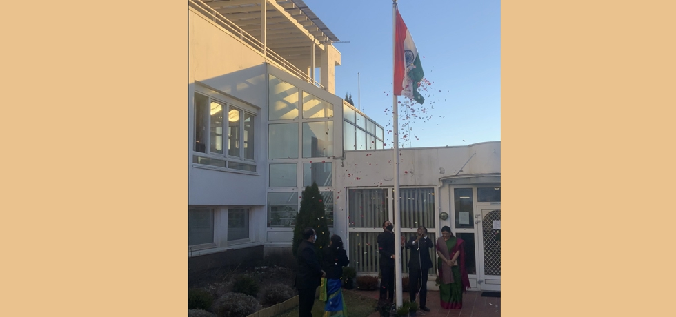 Flag hoisting ceremony at the Embassy on the occasion of 72nd Republic Day, 2021