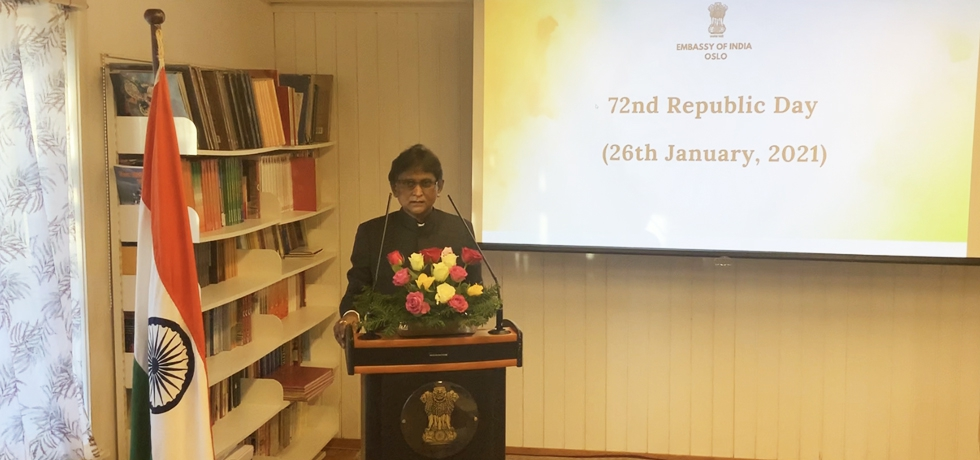 H.E.Dr. B. Bala Bhaskar, Indian Ambassador to Norway, reads out President's address on the occasion of 72nd Republic Day, 2021