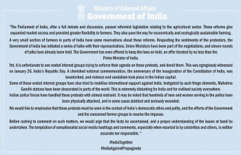 Press statement by MEA on recent comments by foreign individuals and entities on the farmers' protests
