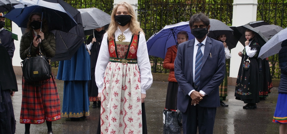 H.E. Dr. B. Bala Bhaskar, Ambassador of India to the Kingdom of Norway with local citizens wearing traditional Norwegian costume