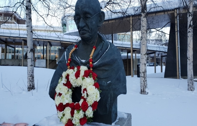 Bust of Mahatma Gandhi at the Centre for Peace Studies, University of Tromsø (UiT)